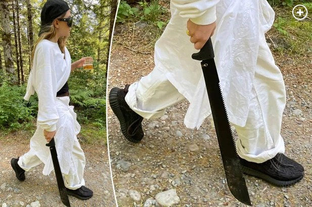 Rare Photo of Ashley Olsen As She Goes Hiking With a Machete and a Drink